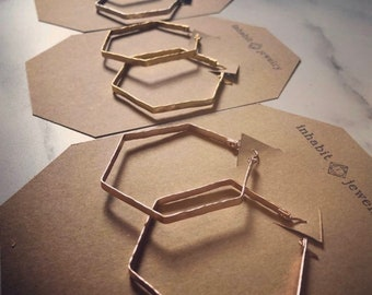 Hexagon hoop earrings / gold - silver - rose gold / hammered earrings / geometric earrings / hoop earrings  / hexagon earrings