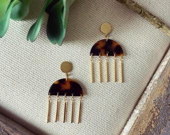 Tortoise & gold earrings / jellyfish earrings / acetate earrings / blue earrings / geometric jewelry / statement earrings