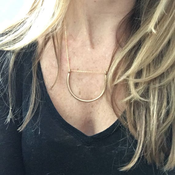 U necklace- gold & silver