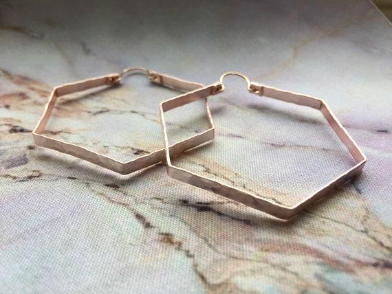 Rose gold hexagon hoop earrings