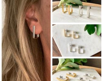 Rectangle huggie earrings / gold - silver / geometric earrings / stud earrings / simple earrings / minimalist earrings / classic earrings