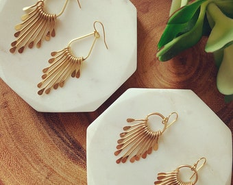 Fan paddle earrings / teardrop earrings / circle earrings / gold - silver earrings / statement earrings / boho earrings