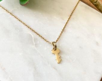 Tiny key necklace / gold necklace / gold key / minimalist necklace / key to my heart / realtors necklace / new home gift