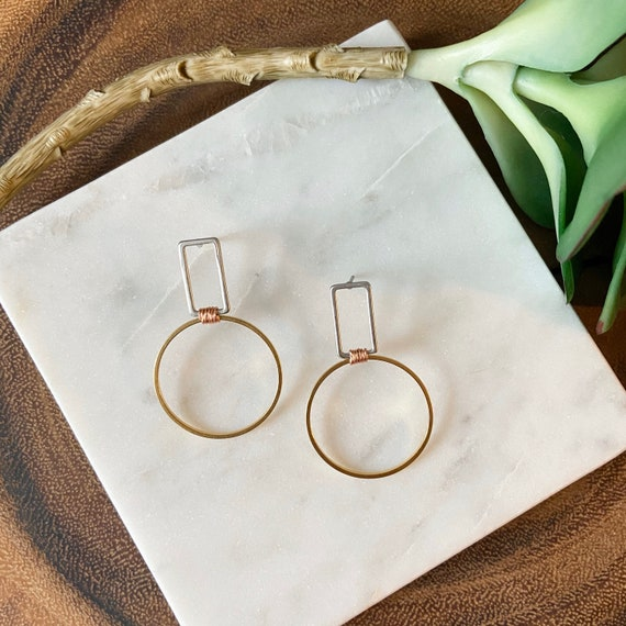 Circle & rectangle earrings