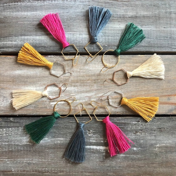 Tassel geometric earrings