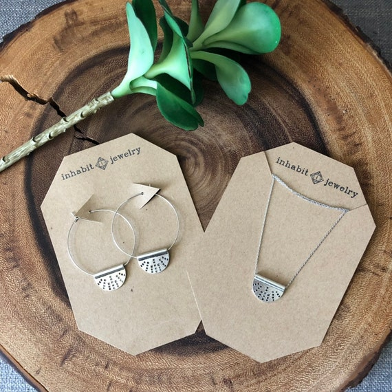 Silver half circle necklace & earring set