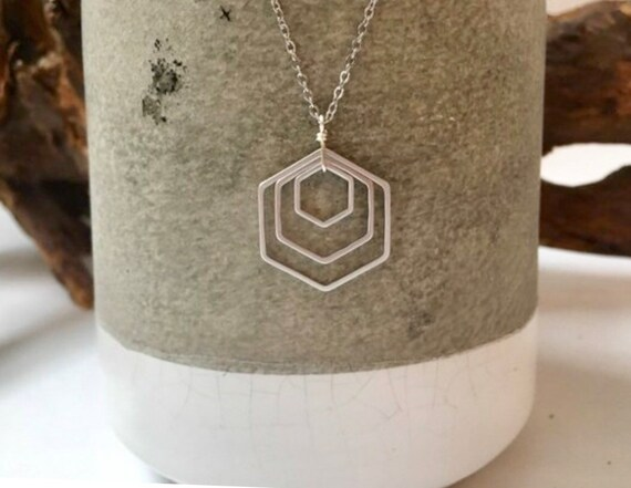 Silver triple hexagon necklace