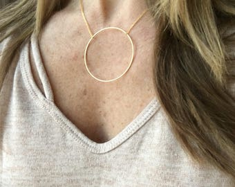 Large circle necklace / gold - silver / geometric necklace / statement necklace / delicate necklace / layering necklace