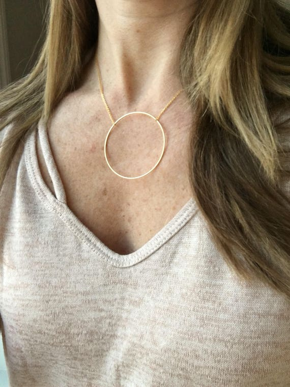 Large circle necklace - gold, silver