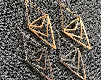 Chevron chandelier earrings / gold - silver / triangle earrings / geometric earrings / dangle earrings / drop earrings / minimalist earrings