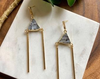 Gift set / gemstone necklace & earring set  / blue druzy / lariat necklace / gemstone earrings / geometric jewelry / boho jewelry