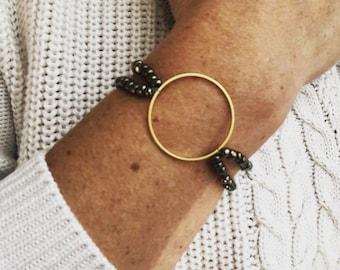 Beaded circle bracelet - gold, rose gold, silver
