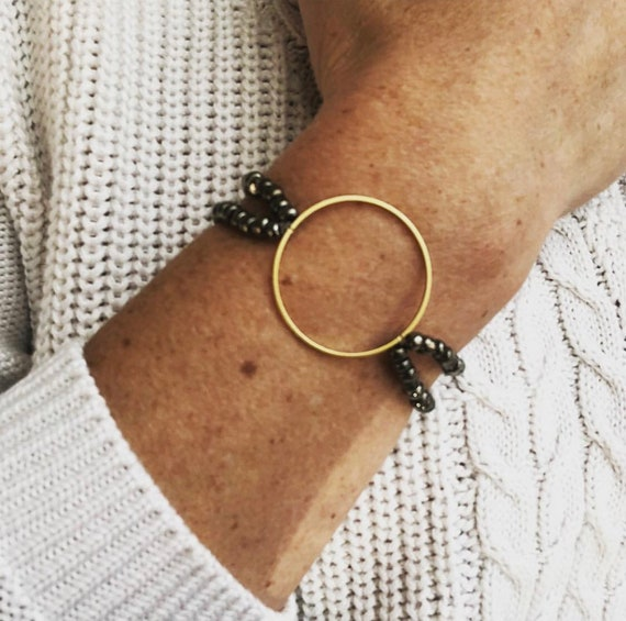 Beaded circle bracelet - gold, rose gold, silver