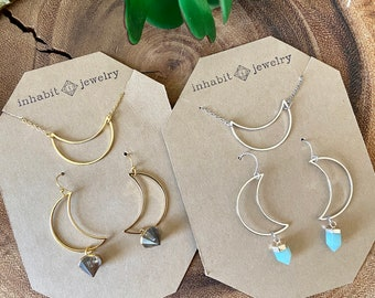 Gift set / gemstone moon necklace & earring set / gold - silver  / crescent moon earrings / geometric jewelry / delicate jewelry