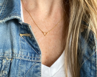 Tiny triangle necklace / gold necklace / gold triangle / minimalist necklace / geometric necklace / handmade jewelry / layering necklace