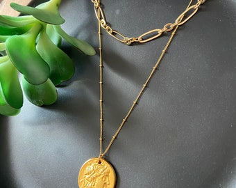 Greek coin & link chain set / gold necklace set / easy layering / gold link necklace / delicate necklace / greek coin necklace / boho