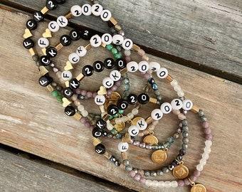 Personalized beaded bracelets / stretch bracelet / name bracelets / mom bracelet /Czech glass bead bracelets / kids names / fuck cancer