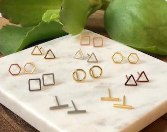 Geometric earrings / stud earrings / minimalist earrings / delicate earrings / gold earrings / silver earrings / rose gold earrings / studs