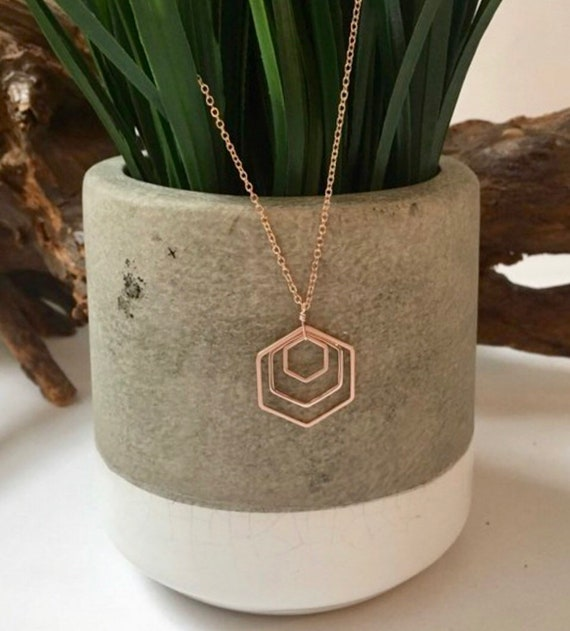 Rose gold triple hexagon necklace