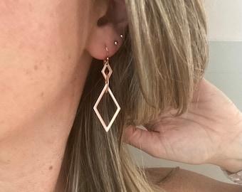 Rose gold diamond shaped earrings / rhombus earrings / rose gold earrings / geometric earrings / statement earrings / minimalist earrings