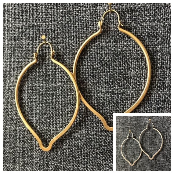 Moroccan oval earrings - gold, silver