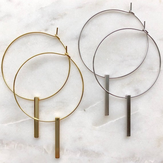 Hoop & bar earrings - gold or silver