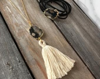 Gift set / gemstone necklace & bracelet set  / ocean jasper / tassel necklace / wrap bracelet / geometric jewelry / boho jewelry / gold