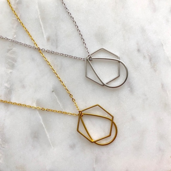 Geometric necklace / gold - silver /hexagon necklace / teardrop necklace /layering necklace / delicate necklace / minimalist necklace