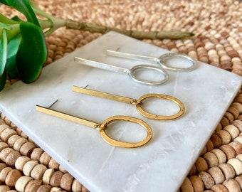 Dropped oval earrings / modern architectural  earrings/ gold - silver earrings / geometric earrings /  spoon earrings / sleek earrings