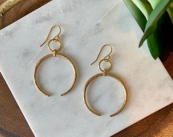 Gold crescent moon earrings / double horn earrings / celestial earrings / gold earrings / statement earrings / minimalist earrings