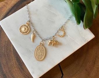 Charm necklace / gold & silver necklace / mixed metal necklace / gifts for her / elephant necklace / sun, moon necklace / boho jewelry