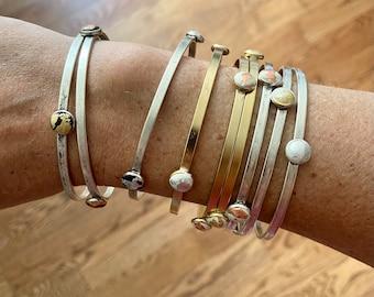 Bangle bracelet set / metal leaf bracelet / gold bracelet / silver bracelet / stacking bracelets / mixed metal bangles / thin bracelets