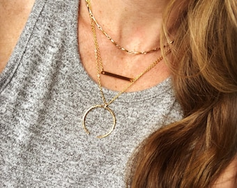 Layered celestial necklace / gold - silver / easy layering necklace / three layer necklace / moon necklace / bar necklace / magnetic