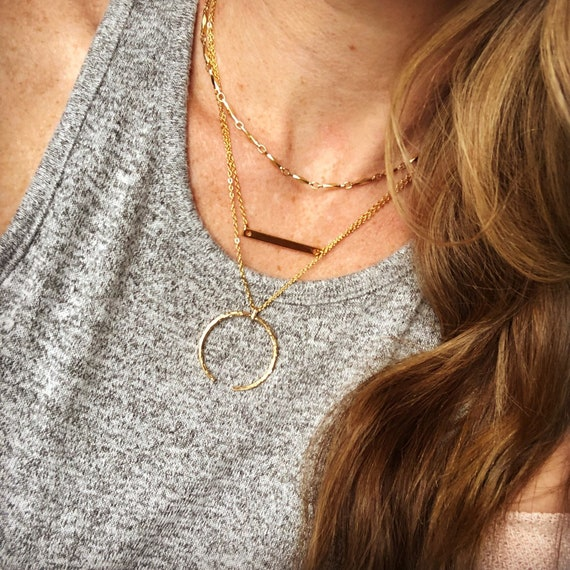 Layered celestial necklace- gold & silver