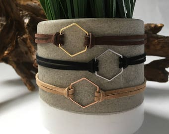 Hexagon choker / gold - rose gold - silver / geometric necklace / layered necklace / choker necklace / minimalist necklace / leather cord