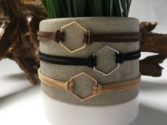 Hexagon choker - gold, rose gold, silver