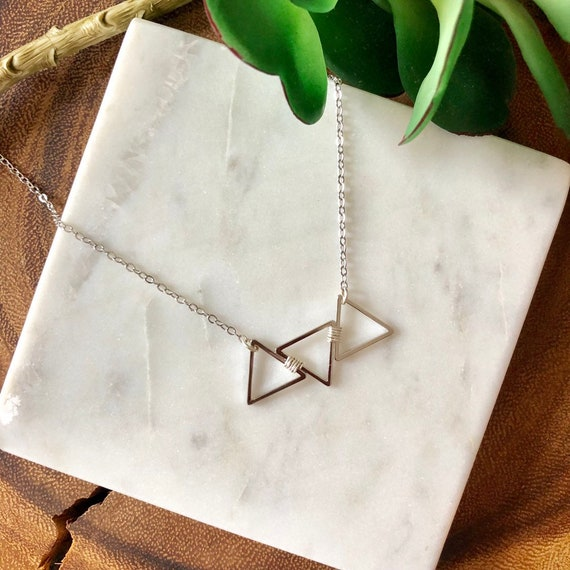 Triangle necklace - gold, rose gold, silver