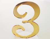 Mirror Acrylic Table Numbers, Wedding Table Numbers