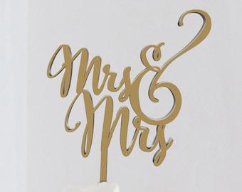 Mrs and Mrs Wedding Cake Topper, Lesbian Cake Topper