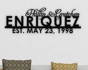 Family Name Sign, Personalized Family Name, Established Family Sign, Laser Cut Wood Sign, Wedding Gift, Anniversary Gift, Backdrop Wall Sign