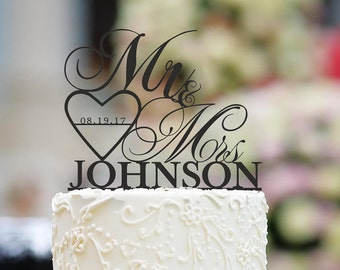 Personalized Mr And Mrs Cake Topper With Date Custom Wedding Decor
