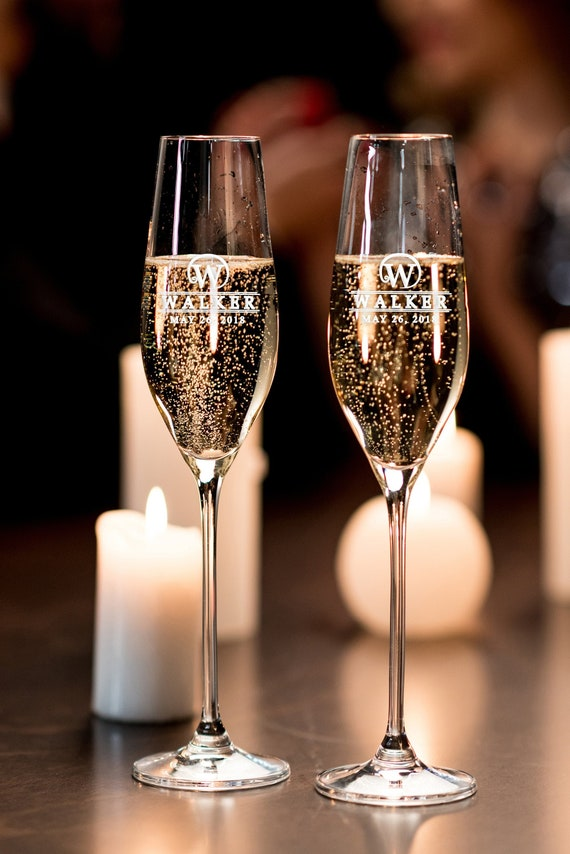Bride And Groom Toasting Flutes Personalized Champagne Flutes Set Of Two Etched Flutes Toasting Champagne Flutes