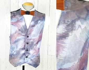 324cfb2c21 Vintage 80s Wild Abstract Waistcoat Men s 42 Medium Adjustable Vest 4  Button Formal Wedding Wear Prom Attire Office Suit Accessory Menswear
