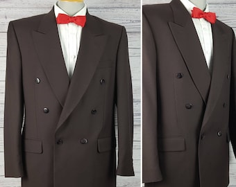 Vintage 80s Eaton Classic Solid Brown Double Breasted 40T Long Tall Blazer Men's Sport Coat Union Made in Canada Suit Jacket Tuxedo Style