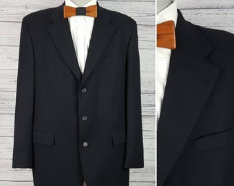 570f81b4fadf7 Vintage Wool Black Joseph   Feiss 44T Tall Blazer Textured Men s Sport Coat  3 Buttons Made in Canada Suit Jacket Office Business Wedding