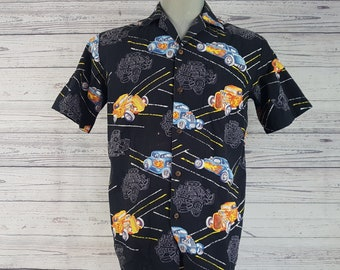 3088cc63 Vintage Cars & Motors Casual Shirt / Men's Medium Aloha Republic Short  Sleeve Shirt / Made in Hawaii / Retro Vacation Holiday Club Look