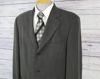8367c0ccd Vintage 90s Hugo Boss Black Label Einstein Model Men's 46R Blazer Green  Gray Color Lightweight Wool Sport Coat Suit Jacket Made USA Wedding