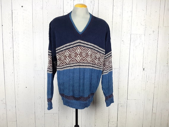 Vintage 90s cotton knit sweater,geometric soft winter sweater pullover by Bill Blass,multicolored unisex cozy cotton casual sporty sweater