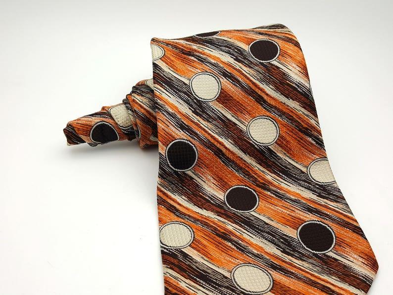 Vintage Rene de Deauville Paris 50s  60s Ultra Wide Necktie Men/'s 4.75 Fall Autumn Colors Circle Geometric Thick Woven Polyester Tie