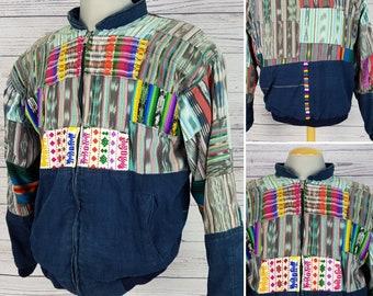 Vintage Men's 80s Distressed Guatemalan Bomber Patchwork Jean Jacket Medium Size Cotton Blend Guatemala